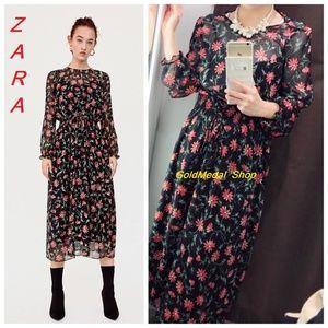 ZARA Floral Print New Long Double Dress
